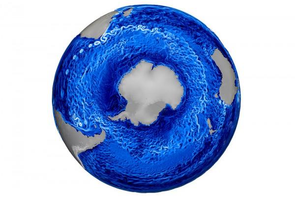 Mapa de Correntes Oceânicas e Turbilhões do Hemisfério Sul